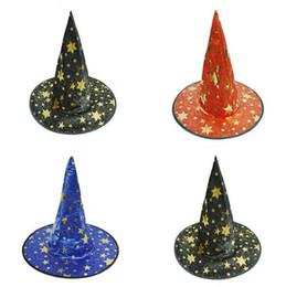 Diablo disfraces de halloween hombres online-Witch Pointed Cap Colorful Star Print Fiesta de disfraces de Halloween Sombreros Mujeres Hombres Disfraz de Halloween Disfraz de Devil Cap