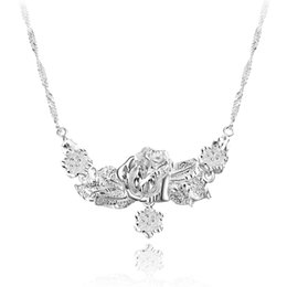 Wholesale Top Pendants - Silver Jewelry Pendant Fine Fashion Silver-plated rose necklace 925 jewelry silver plated Necklace Pendants Fashion gift necklace Top Qualit