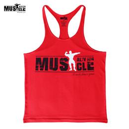 Singlet dress en Ligne-2018 Summer Dress Sportswear Marque Vêtements Débardeur Hommes S Fitness Stringer Bodybuilding Maillots Coton Muscle Shirts Sleeveles