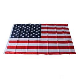 2019 bandiere bianche rosse 3'x 5 'Foot American USA Bandiere Nazionali USA Bandiera 90x150cm Sottile Bandiera Blu Linea Rossa Nero Bianco Stelle e Strisce Occhielli in ottone bandiere bianche rosse economici