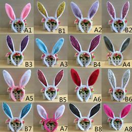 Cravatta decorazioni per le feste online-Lovely Girls Coniglio Bunny Ears Fascia Festa di Pasqua Decorazioni Cosplay Donna Coda Cravatta Festa di compleanno Costume Prop Hairbands regalo