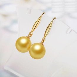 Wholesale south sea dangle pearl earrings - AAA 9-10MM SOUTH SEA GOLD NATURAL DANGLE PEARLS EARRING 14K YELLOW GOLDEN HOOK