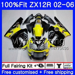 Injection For KAWASAKI NINJA ZX1200 ZX 12R 2002 2003 2004 2005 2006 224HM.46 ZX-12R 12 R 1200CC ZX12R 02 03 04 05 06 Yellow black Fairing
