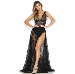 2c43df53b Vestido de fiesta Maxi Club de encaje transparente de pestañas Mujer Vestido  de fiesta sexy de Plunge V Neck sin mangas abierto de espalda alta Vestido  ...