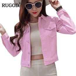 f7f0a9c402b9c RUGOD 2018 Newest Women Jeans Jacket For Spring Autumn Women Denim Tops Plus  Size Female Outerwear Fashionable casaco feminino Y18110501