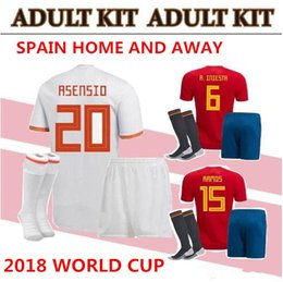 Wholesale Home Soccer Jersey - world cup Spain adult Jersey full set with socks 2018 ISCO INIESTA ASENSIO MORATA home soccer shirt Football uniforms sales Spain kits
