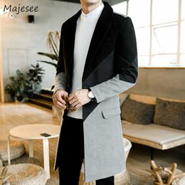Coreano moda casaco longo on-line-Homens De Lã Casaco Longo Plus Size Patchwork Coreano Casaco Mens Quente Moda Fino de Todos Os Coincidir Com Único Breasted Casacos Collar Turn-down