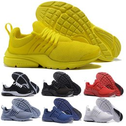 Wholesale fine lace - 2018 Running Shoes Fine Mesh Breathable Presto Blackout Cheap Sneaker Red Navy Blue Triple White Black Fall Olive size eur 36-46