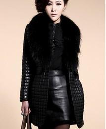Wholesale Woman Sheep Coat - Oversized raccoon fur collar sheep skin simulation Piga cotton ladies leather jacket Faux Fur long coat 8870
