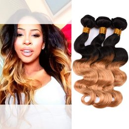 Wholesale remi indian hair - BK hair 8A Ombre Virgin Hair Body Wave Brazilian human Hair 3 or 4 Bundles Honey Golden Two Tone Sexy Real Remi For Black Women 10-24 Inch