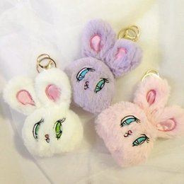 Wholesale Mini Plush Bunnies - WEGO Rabbit Pendant Plush Stuffed Rabbit Keyring Keychain Bunny Mini Doll Purple Pink White Furry Anime Animal Handbag Accessory