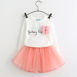 Wholesale Cute Long Skirts - Lovely Girls Clothing Sets White T-shirt and Pink Skirt with Rhinestone Clothing Set for Children Girl Kids Spring Suits
