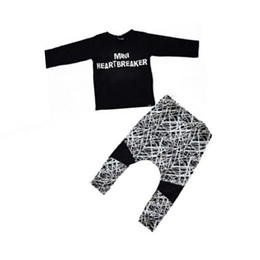 Wholesale Maternity Clothes T Shirts - 2018 Infants clothing Maternity Outfits for baby Letters Abstraction Clothing Sets T-shirt Tops + Pant 3M-2T