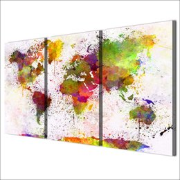 Wholesale map canvas art - Home Decor HD Prints Canvas Living Room Abstract Pictures 3 Pieces Color World Map Paintings Wall Art Modular Posters Framework