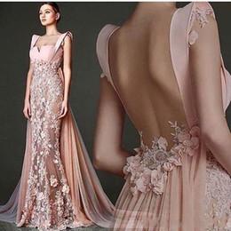 Pizzo flora prom online-2018 Pink Prom Dresses sirena con 3D Flora Appliques Sexy Backless Sweetheart Neck Lace Chiffon Sweep treno formale abiti da sera di occasione