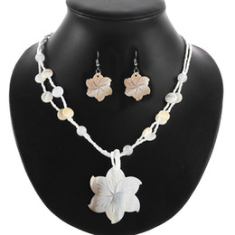 Discount shell shaped earrings - Natural Shell Flower Shape Double Layer Glass Beads Beaded Chain Statement Necklace Earrings Set for Women