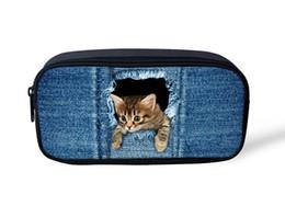 Джинсовые сумки онлайн-Оптовая торговля-высокое качество косметические сумки симпатичные 3D животных джинсовая кошка печати женщины макияж сумка маленькие дети мальчики девочки карандаш ручка сумка