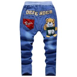 Taille élastique enfants en Ligne-UNIKIDS Printemps Adolescents Jeans Pour Garçon Jeans Garçon Pantalon Designer Enfants Jeans Pantalon Taille Élastique Pour Enfants