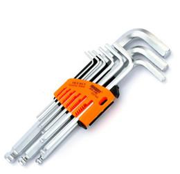 Wholesale allen key wrench - 9pcs set Hex Key Set Durable Chrome Vanadium Ball Ended Allen Key Wrench Set L-Type Wrench Hexagon Mechanic Tool Set