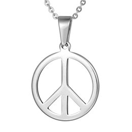 Wholesale Hippie Pendants - Hippie Stainless Steel Jewelry Silver Peace Sign Pendant Necklace for Men with Steel Ball Chain chains to choose