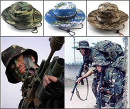 Wholesale sailor tops - Designer Foldable Cotton Boonie Hat Sport Camouflage Jungle Military Cap Adults Mens Womens Cowboy Hats For Fishing Packable Army Bucket Hat