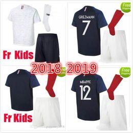 Wholesale k l - Maillot de Foot Homme kids 2018 world cup French football shirt Camisetas Equipe de france White blue tenues Black national Soccer Jerseys k