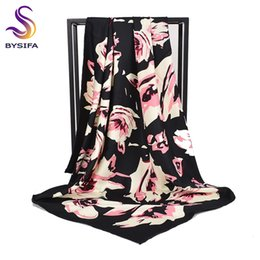 Wholesale wholesale capes for women - [BYSIFA] Women Black Silk Scarf Cape New Chinese Style Floral Design Muslim Twill Head Scarves Shawls For Fall Winter Pink Blue