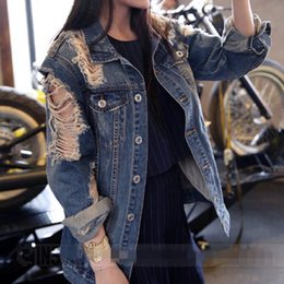 Wholesale Jeans Broken - New Jeans Jacket Women Denim Loose Broken Jaqueta Feminina Jeans Women Basic Coats 7CT013