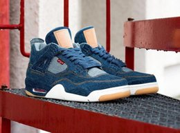 Wholesale Voile Blue - 2018 Newest Jeans x Air Retro 4 IV NRG Blue Man Basketball Sneakers DENIM DENIM-SAIL-GAME RED VOILE ROUGE JEU AO2571-401 Athletic Shoes