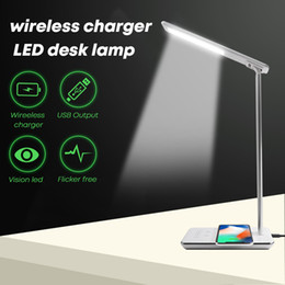 Wholesale Desk Charger - LED Aluminum Desk Lamp Touch Control Color Change gift Lamp with QI standard for iphone Wireless charger and usb output port built-in