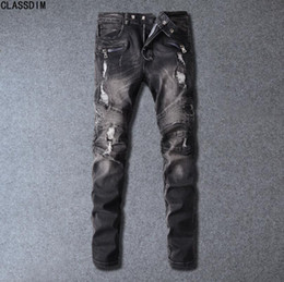 Wholesale Pink Pencils - Men's Brand High Quality Fashion Fold Style Jeans Men's Hip-Hop Style Motorcycle Jeans 14 Colors Size 28-38