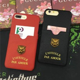 Wholesale Tiger Cards - Luxury brand leather texture metal tiger with card slot phone case for iphone 7 7plus 8 8plus hard back cover for iphone 6 6S 6plus