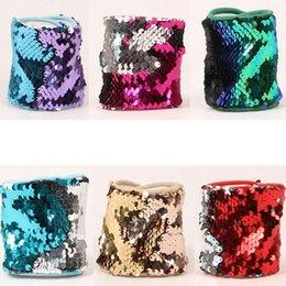 Wholesale Glitter Cuff Bracelet - Mermaid Sequin Bracelet Girls Glitter Mermaid Sequin Wristband Bangle Bracelet Jewelry Cuff Sequins Bracelets Wristband KKA3866