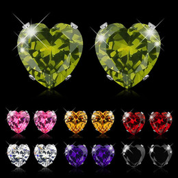 Wholesale Crystal Earrings For Sale - Hot Sale Heart Earring For Girl 8mm Crystal Stud Earrings Geometric Rhinestone Minimalist Women Jewelry PULATU BK668