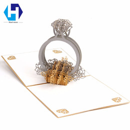Wholesale Diamond Wedding Invitation Cards - 3D pop up Wedding invitations Diamond ring greeting card laser cut Valentines Day with envelope postcards hollow handmade Gifts