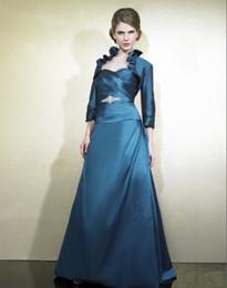 Wholesale бесплатная доставка новый дизайн vestidos де феста тафта синий длинное платье партии вечер элегантные платья вечерние платья с курткой