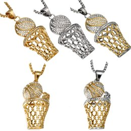 Wholesale Rhinestone Basketball Jewelry - Fashion Hip Hop SIlver Gold Plated Mini Basketball Rim Pendant Necklace Long Chain Necklaces Mens Jewelry 5 Style Free Shipping D793S