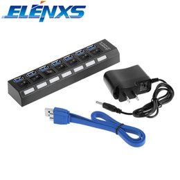 Wholesale pc power switch cable - ELENXS 7-Ports USB Hub Multifunction USB 3.0 Hub with On Off Switch US Power Adapter Cable Splier for PC Laptop