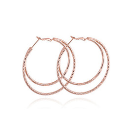 Wholesale Copper Loop - Oversize 18K White Rose Gold Plated 5CM Big Round Circles Loops Hoop Earrings Fashion Party Jewelry for Women