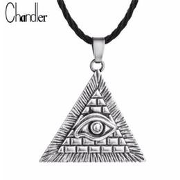 Egypte égyptienne Pyramide All-Seeing Evil Eye Illuminati Antique Charme Argent Pendentif Collier Pour Hommes Garçons Mode Bijoux ? partir de fabricateur