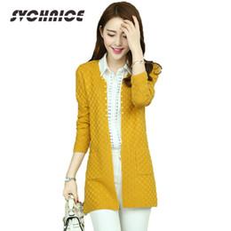Suéteres cardigan amarillo para mujer online-2018 Spring Womens Cardigan Casual Poncho suelta abrigo de punto mujer manga larga de punto suéteres Cardigan damas amarillo
