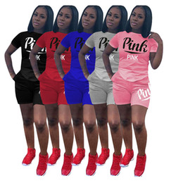 Wholesale ladies tennis clothes - Women VS Tracksuit Summer Outfit Love Pink Print Sportswear Short Sleeve Tops T Shirt + Shorts 2PCS Jogger Sport Suit Ladies Leisure Clothes