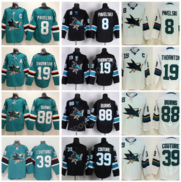 Wholesale White For Men - 2018 AD Ice Hockey San Jose Sharks Jersey 8 Joe Pavelski 19 Joe Thornton 39 Logan Couture 88 Brent Burns Green Black All Stitched For Men