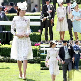 Wholesale Green Kate Middleton Dress - Sexy Full Lace Mother of the Bride Dress With Long Sleeves Kate Middleton Formal Gowns High Neck Knee Length Mothers Dresses