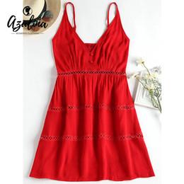 1e193ed958a6 20187 AZULINA Women Dress Summer Hollow Out A Line Spaghetti Strap Solid  Dress Robe Femme 2018 Girls Dresses Vestidos Ladies Clothes