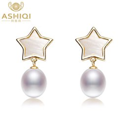 Ювелирные изделия из серебра онлайн-ASHIQI Real Freshwater Pearl Earrings Natural shell stars drop earrings 925 sterling silver jewelry For Women gift