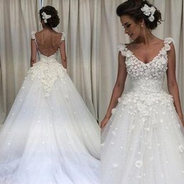 Wholesale Cheap Flower Robes - 2018 Bohemian Country Wedding Dresses Cheap V Neck 3D Flower Applique Backles Sweep Train Spring Garden Berta Bridal Gowns Robe De Mariage