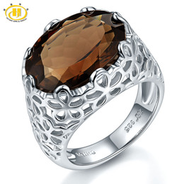 Wholesale Filigree Engagement - Hutang Huge Natural Smoky Quartz Filigree Cocktail Engagement Ring Solid Sterling Silver 925 Gemstone Fine Stone Jewelry Hot Sale