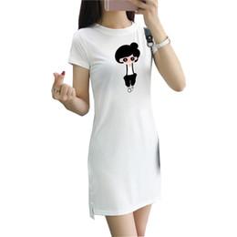 Mini vestido de seda barato online-Vestido de verano de las mujeres 2018 nueva impresión de rayas casual Coreano de manga corta dobladillo dividido leche mini vestido de seda vestidos femeninos baratos T030