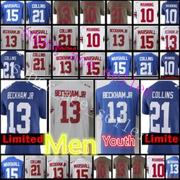 Wholesale Eli Manning Jersey Xl - New York Gaint Youth #13 Odell Beckham jr Jersey Men 13 Beckham jr.10 Eli Manning 21 Landon 15 Marshall Collins stitched Jerseys